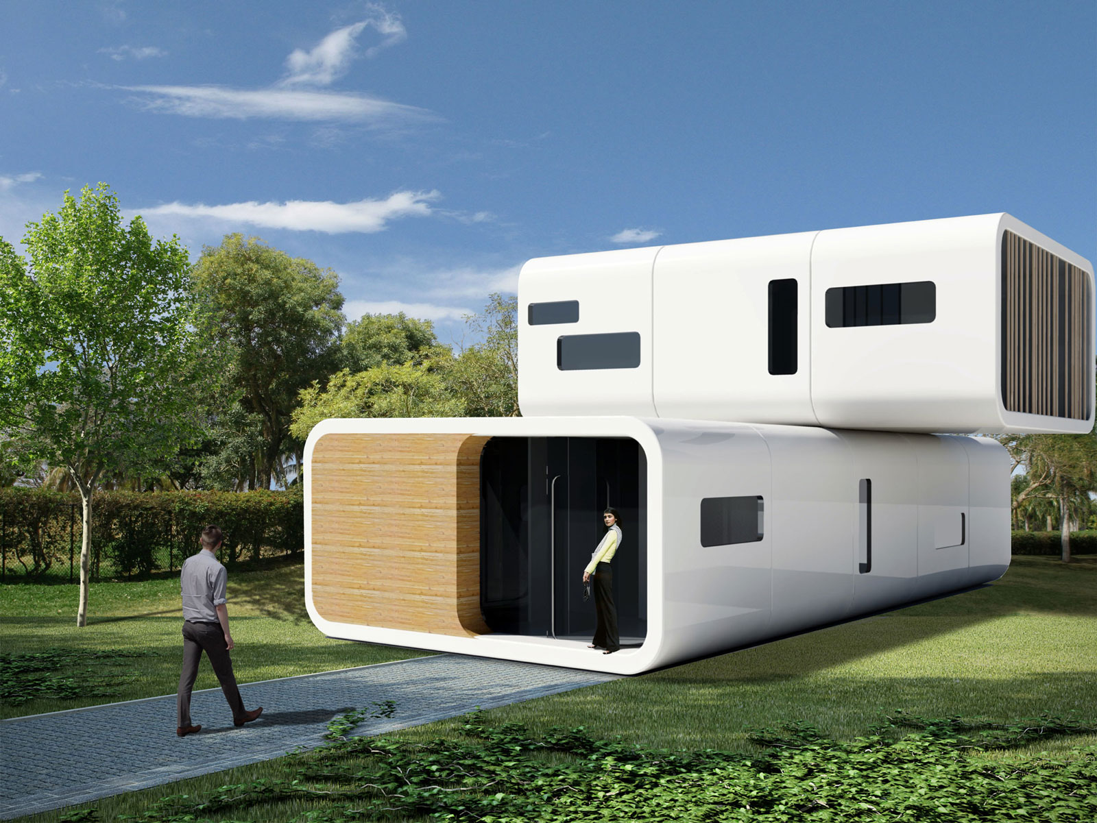 Prefab modular living units by coodo germany for Home built house