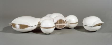 Pascal Haüsermann, Domobiles, maquette en sept éléments, plastique (diamètres 8, 15 et 20 cm), 1971