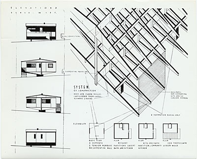 Plas-2-Point prefabricated house, elevation drawings, designed by Marcel Breuer, 1942